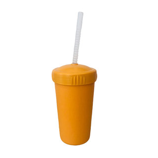 Orange Straw Cup with Lid & Straw