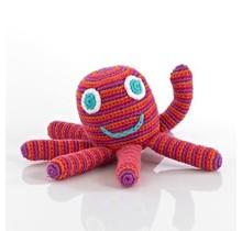 Pink Happy Octopus Rattle, Pebble