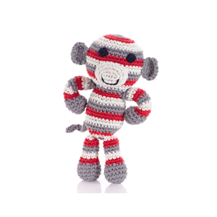 Pebble Red Grey Monkey Rattle, Pebble