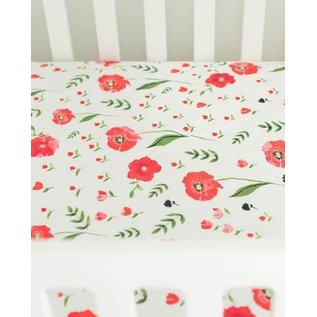Little Unicorn Summer Poppy Percale Crib Sheet