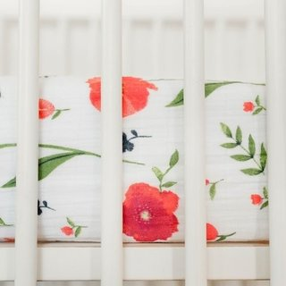 Summer Poppy Percale Crib Sheet