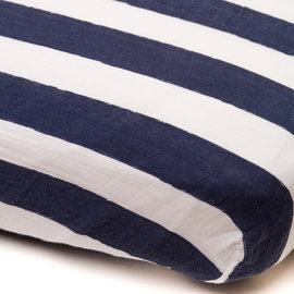 Little Unicorn Navy Stripe Percale Crib Sheet