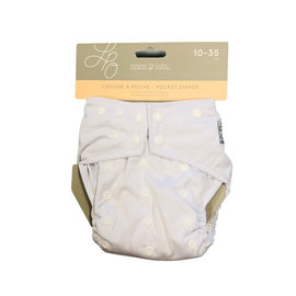 La Petite Ourse One-Size Snap Pocket Diaper, White