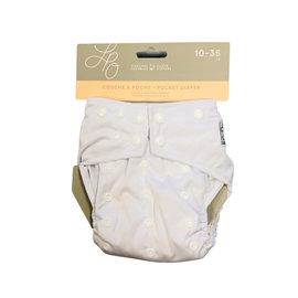 La Petite Ourse White One-Size Snap Pocket Diaper
