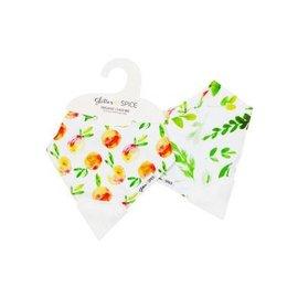 Glitter & Spice Peaches/Foliage Double-sided Chew Bib