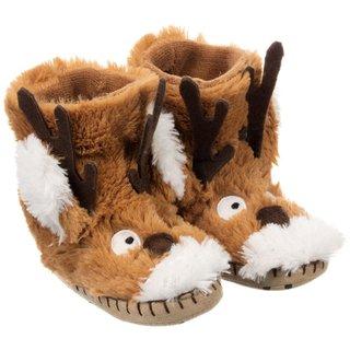 Brown Reindeer Kids' Slippers
