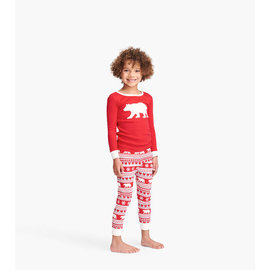 Fair Isle Bear Applique Pajama Set