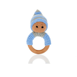 Pebble Blue Pixie Rattle Ring with Wood