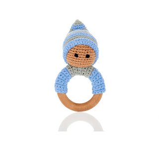 Blue Pixie Rattle Ring with Wood