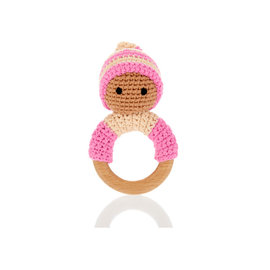 Pebble Pink Pixie Rattle Ring with Wood