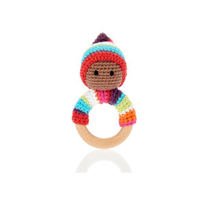 Rainbow Pixie Rattle Ring with Wood