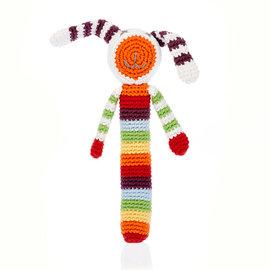 Pebble Rainbow Bunny Stick Rattle, Pebble