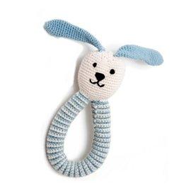 Pebble Organic Blue Bunny Ring Pebble Rattle