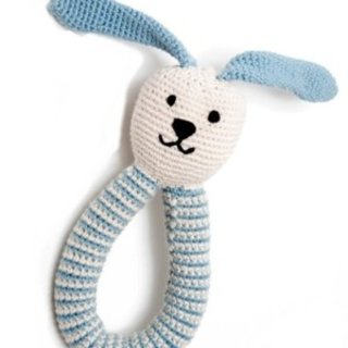 Organic Blue Bunny Ring Pebble Rattle