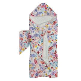 Loulou Lollipop Light Field Flowers Hooded Towel Set