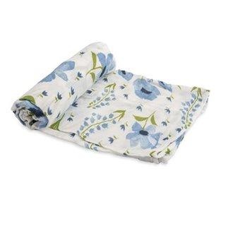 Blue Windflower Deluxe Cotton Muslin Swaddle