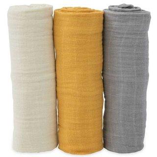 Mustard Set Cotton Muslin Swaddle, 3 pack