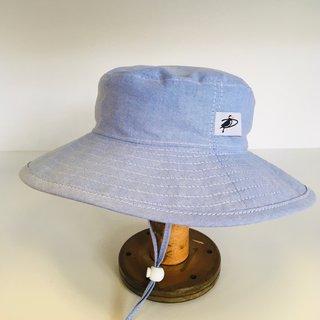 6-12m Blue Cotton Oxford Sunbaby Hat