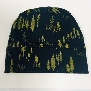 Gold Trees on Black Slouch Beanie