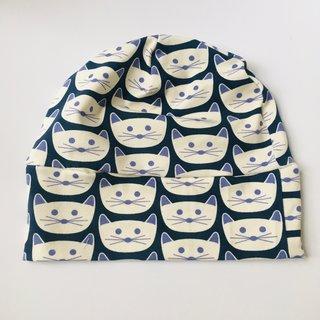 Blue Kitty Slouch Beanie
