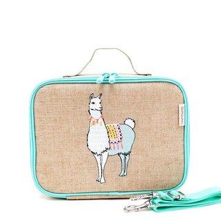 Groovy Llama Raw Linen Lunchbox