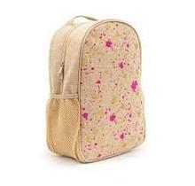 Fuschia & Gold Splatter Raw Linen Toddler Backpack