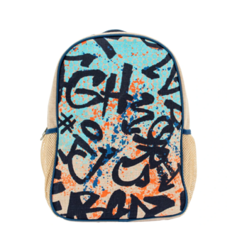 Colourful Graffiti Raw Linen Toddler Backpack