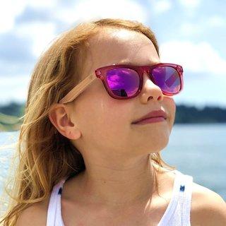 Pink Kids Beech Wood Sunglasses