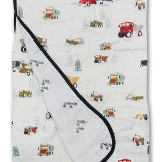 Happy Trucks Muslin Quilt Blanket
