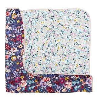 Dark Field Flowers Muslin Quilt Blanket