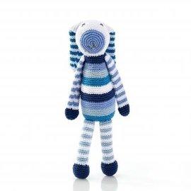Pebble Blue Stripe Bunny Pebble Rattle