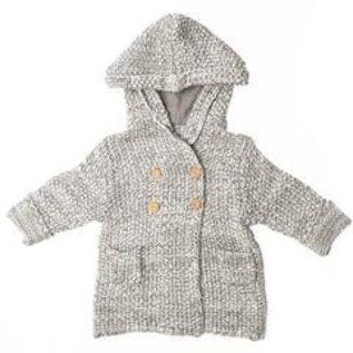 Beba Bean Crochet Knit Hoodie, Grey