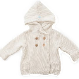 Beba Bean Crochet Knit Hoodie, Ivory