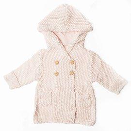 Beba Bean Crochet Knit Hoodie, Pink