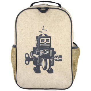 SoYoung Grey Robot Raw Linen Gradeschool Backpack
