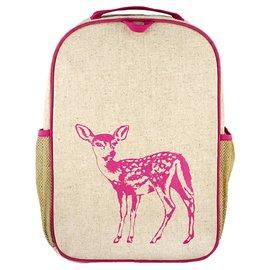 SoYoung Pink Fawn Raw Linen Gradeschool Backpack