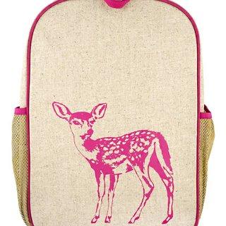 Pink Fawn Raw Linen Gradeschool Backpack