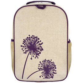 SoYoung Purple Dandelion Raw Linen Gradeschool Backpack