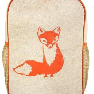 Orange Fox Raw Linen Gradeschool Backpack