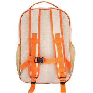 SoYoung Orange Fox Raw Linen Gradeschool Backpack