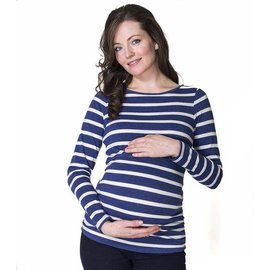 Momzelle Maternity/Nursing Top EMMA, Navy Stripe