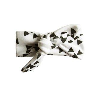 Top Knot Headband, White & Black Geometric