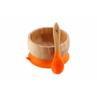 Avanchy Bamboo Orange Bamboo Suction Bowl & Spoon Set