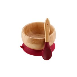Avanchy Bamboo Magenta Bamboo Suction Bowl & Spoon Set