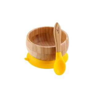 Avanchy Bamboo Yellow Bamboo Suction Bowl & Spoon Set