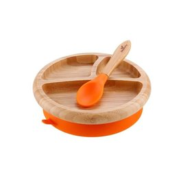 Avanchy Bamboo Orange Bamboo Suction Plate & Spoon Set