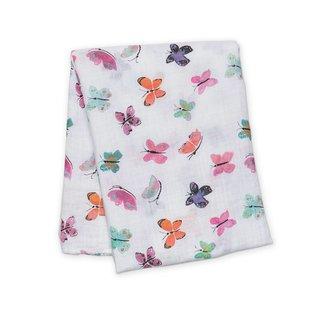 Lulujo Watercolour Butterfly Cotton Muslin Swaddle