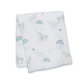 Lulujo Unicorns Cotton Muslin Swaddle