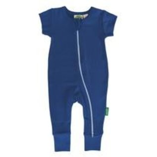Parade Organics Cobalt Blue Organic Zippered Short Sleeve Romper