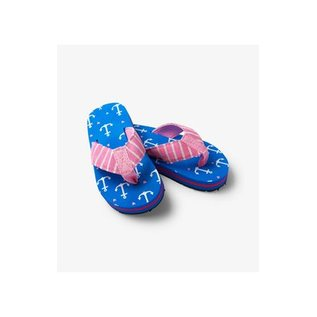 Little Blue House Pink Anchors Flip Flops